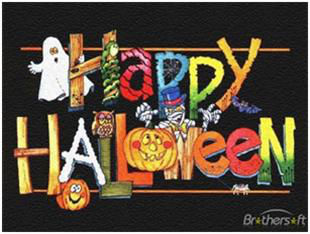 candy spelling out happy halloween