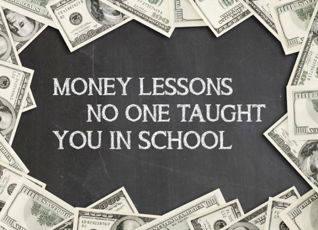 cash framing words saying money lessons no one taught you in school
